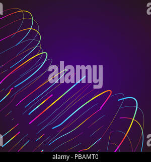 abstract moving colorful lines on dark background stock photo