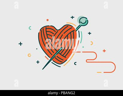 Ball of threads in heart shape. Flat line style, vector illustration - Stock Photo