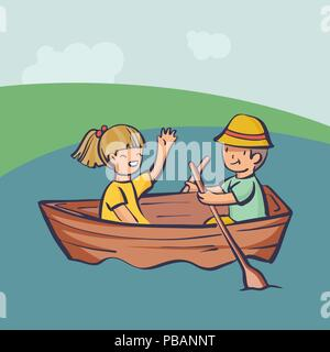 People relax outdoor, couple in a boat. Cartoon style vector illustration, simply editable image - Stock Photo