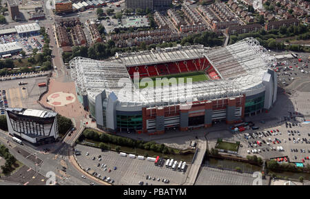 aerial view of Manchester United Old Trafford football ground stadium, Manchester - Stock Photo