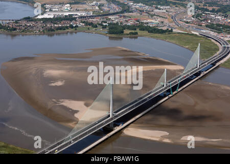 aerial view of the Mersey Gateway river crossing bridge at Runcorn, July 2018 - Stock Photo