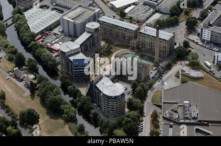 aerial view of The Weaving Shed & Vivo Hotel near Saltaire, Shipley, Bradford, West Yorkshire - Stock Photo
