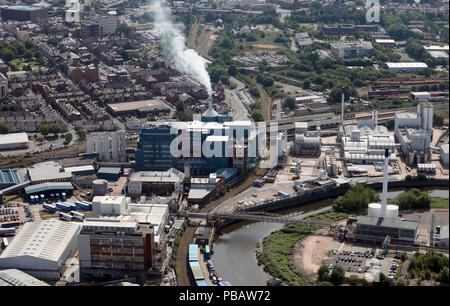 aerial view of a factory, possibly Unilever, in Warrington, Cheshire - Stock Photo