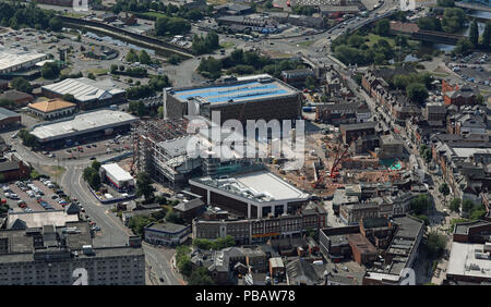 aerial view of new development around Academy Street, Warrington town centre, UK - Stock Photo