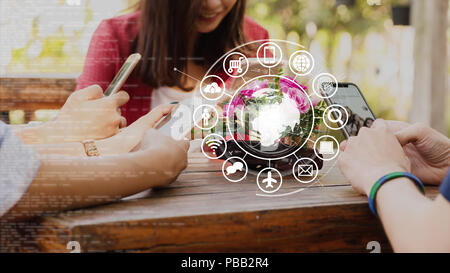 Hands of people use smartphone for connecting to various application, internet of things conceptual - Stock Photo