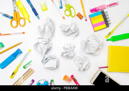 paper balls on the school desk.The concept of generated ideas, inventing new ideas. Searching of decisions. Bad idea. education process. stationery. t - Stock Photo