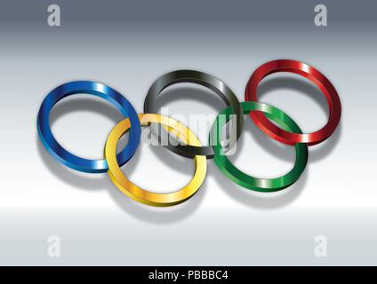 Olympics rings simbol, 3D vector illustration - Stock Photo