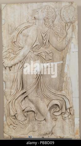 Roman Sculptor / 'The Dance of the Maenads'. 120 - 140. White marble. Museum: Museo del Prado, Madrid, España. - Stock Photo