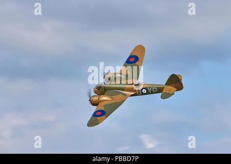 A top side view of a Bristol Blenheim Mk1 G-BPIV representing L6739 (YP-Q) a Blenheim Mk1F of 23 Squadron - Stock Photo