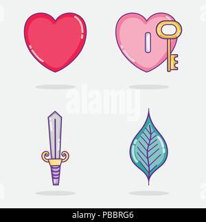 Set of love and hearts cartoons - Stock Photo