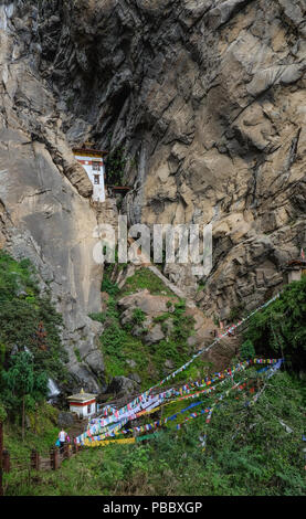 Forest trail to Taktshang Goemba (or Tiger Nest) Monastery in Paro, Bhutan. - Stock Photo