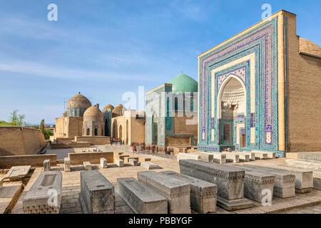 Shah-i-Zinda necropolis ensemble in Samarkand, Uzbekistan - Stock Photo