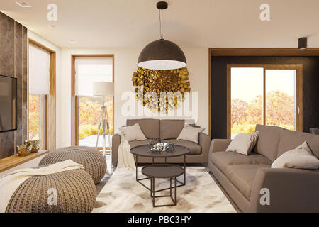 Living room interior design with big panoramic windows. Modern house in the Scandinavian minimalist style. Hygge interior 3d render. 3d illustration - Stock Photo