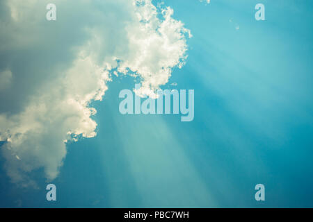 Sky with clouds and sun rays from the bottom Perfect - Stock Photo