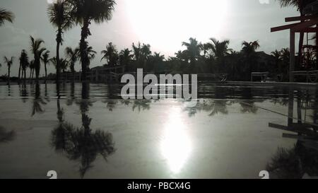 Sunset reflection on the pool during a summer afternoon. - Stock Photo