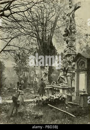 1281 S 362 Abb 365 Partie aus dem Währinger Friedhofe - Stock Photo