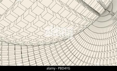 Abstract 3d Illuminated distorted Mesh Sphere . Neon Sign . Futuristic Technology HUD Element . Elegant Destroyed . Big data visualization . - Stock Photo