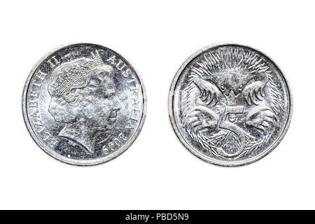 Australian coin of five cents of dollar of Australia, AUD