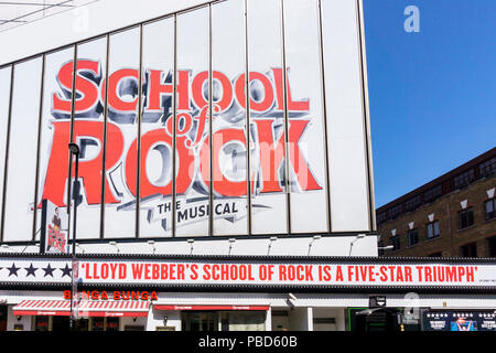 A sign for School of Rock The Musical by Andrew Lloyd Webber at the Gillian Lynne Theatre, formerly the New London Theatre. - Stock Photo