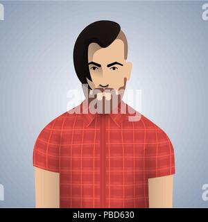 Flat hipster man character . Vector illustration . - Stock Photo