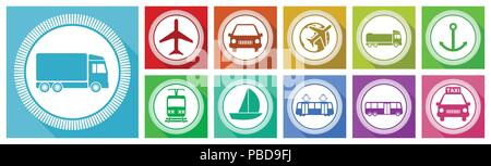 Flat design transportation vector icon set, airplane, vehicle, car, train, tram, boat, truck, bus,  taxi signs in eps 10. - Stock Photo