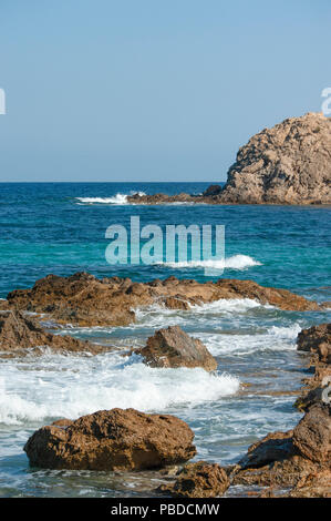 copyspacenorth eastern coast of Ibiza Island, Balearic Islands, Mediterranean Sea, Spain, Europe - Stock Photo