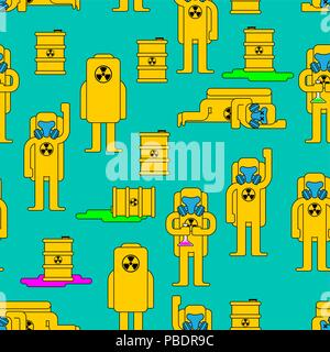 Radiation Pattern. toxic barrel. Yellow Suit Chemical Biohazard protection. Costume Radioactive and biological hazard. Vector illustration - Stock Photo