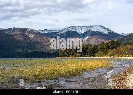 Autumn Colors in Mascardi lake - Patagonia, Argentina, near Bariloche - Stock Photo