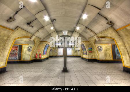 space station concourse in London underground - Stock Photo