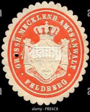 1396 Siegelmarke Grossherzoglich Mecklenburgischer Amtsanwalt - Feldberg W0237392 - Stock Photo