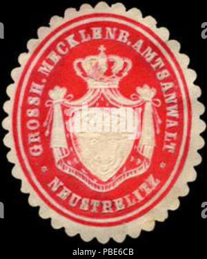 1396 Siegelmarke Grossherzoglich Mecklenburgischer Amtsanwalt - Neustrelitz W0205005 - Stock Photo