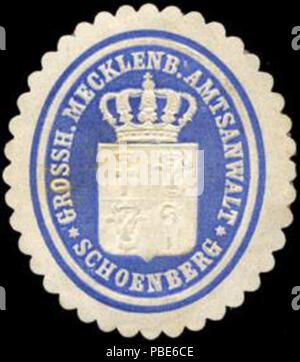 1396 Siegelmarke Grossherzoglich Mecklenburgischer Amtsanwalt - Schoenberg W0204586 - Stock Photo