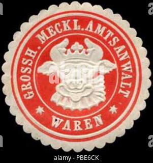 1396 Siegelmarke Grossherzoglich Mecklenburgischer Amtsanwalt - Waren W0255537 - Stock Photo
