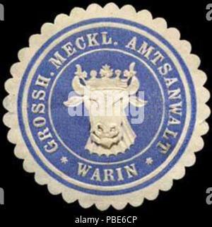 1396 Siegelmarke Grossherzoglich Mecklenburgischer Amtsanwalt - Warin W0260271 - Stock Photo