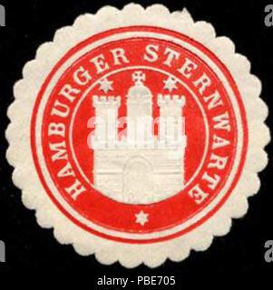 1399 Siegelmarke Hamburger Sternwarte W0232590 - Stock Photo