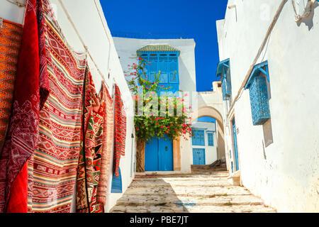 Street in white blue town Sidi Bou Said. Tunisia, North Africa - Stock Photo