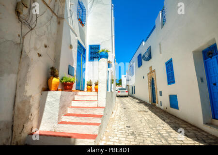 Narrow street in white blue town Sidi Bou Said. Tunisia, North Africa - Stock Photo