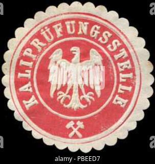 Alte Briefverschlussmarke aus Papier, welche seit ca. 1850 von Behoerden, Anwaelten, Notaren und Firmen zum verschliessen der Post verwendet wurde. 1440 Siegelmarke Kaliprüfungsstelle W0255587 - Stock Photo