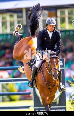 Sussex, UK. 28th July 2018. Longines FEI Jumping Nations Cup of Great Britain at the BHS Royal International Horse Show. All England Jumping Course. Hickstead. Great Britain. 28/07/2018. Credit: Sport In Pictures/Alamy Live News - Stock Photo