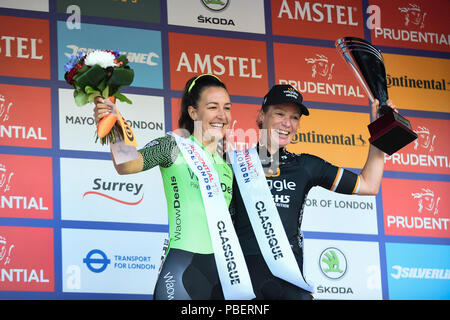 London, UK.  28 July 2018. (L to R) Danielle Rowe (Waowdeals team) sprints winner and Kirsten Wild (Team Wiggle High5) overall winner after taking part in the Prudential RideLondon Classique, riding 12 laps round a 5.4km circuit in central London.  Ranked as one of the top women's UCI WorldTour events, prize money for the race is the highest ever for a women's one day race and features 9 of the top 10 teams from the Women's World Tour. (Editorial use only)  Credit: Stephen Chung / Alamy Live News - Stock Photo