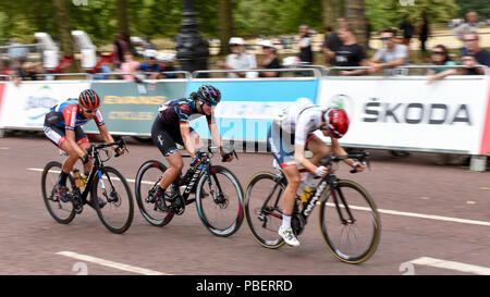 London, UK.  28 July 2018. Elite women riders take part in the Prudential RideLondon Classique riding 12 laps round a 5.4km circuit in central London, won by Kirsten Wild of Team Wiggle High5.  Ranked as one of the top women's UCI WorldTour events, prize money for the race is the highest ever for a women's one day race and features 9 of the top 10 teams from the Women's World Tour. (Editorial use only)  Credit: Stephen Chung / Alamy Live News - Stock Photo