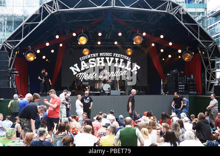 London UK, 28th July, 2018. A Country music festival - Nashville Meets London - on the 28th and 29th July at Canary Wharf. - Stock Photo