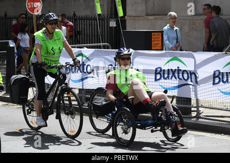 Thousands of riders participate for the Prudential RideLondon FreeCycle at The Mall on 28 July 2018, London, UK - Stock Photo