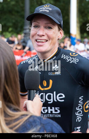 London, UK. 28th July, 2018. Kirsten Wild of the Wiggle High5 team is interviewed after winning the Prudential RideLondon Classique, the richest women's one-day race in cycling. The race is part of the UCI Women's World Tour and offers spectators the opportunity to see the world's best women's cycling teams battling it out over 12 laps of a closed 5.4km circuit starting and finishing on The Mall. Credit: Mark Kerrison/Alamy Live News - Stock Photo