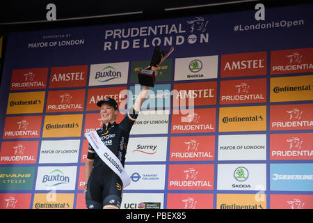 London, UK. 28th July, 2018. Kirsten Wild of the Wiggle High5 team celebrates winning the Prudential RideLondon Classique, the richest women's one-day race in cycling. The race is part of the UCI Women's World Tour and offers spectators the opportunity to see the world's best women's cycling teams battling it out over 12 laps of a closed 5.4km circuit in central London starting and finishing on The Mall. Credit: Mark Kerrison/Alamy Live News - Stock Photo