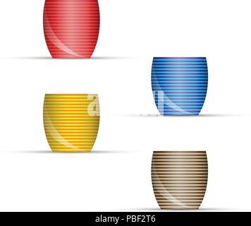 Empty Flower Pots Isolated on White. Side View. Vector Design Elements Set for You Design - Stock Photo