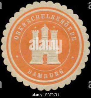 Alte Briefverschlussmarke aus Papier, welche seit ca. 1850 von Behoerden, Anwaelten, Notaren und Firmen zum verschliessen der Post verwendet wurde. 1494 Siegelmarke Oberschulbehörde W0393107 - Stock Photo