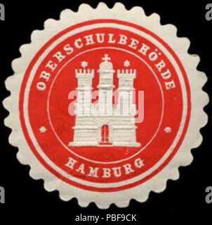 Alte Briefverschlussmarke aus Papier, welche seit ca. 1850 von Behoerden, Anwaelten, Notaren und Firmen zum verschliessen der Post verwendet wurde. 1494 Siegelmarke Oberschulbehörde W0307369 - Stock Photo