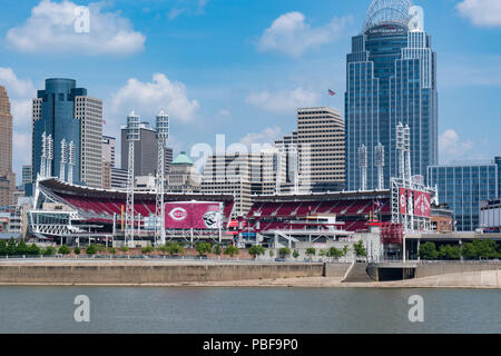 CINCINNATI, OH - JUNE 18, 2018: Great American Ballbark in Cincinnati, Ohio.  Home of the Cincinnati Reds baseball team - Stock Photo