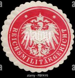 Alte Briefverschlussmarke aus Papier, welche seit ca. 1850 von Behoerden, Anwaelten, Notaren und Firmen zum verschliessen der Post verwendet wurde. 1501 Siegelmarke Reichsmilitärgericht W0240063 - Stock Photo